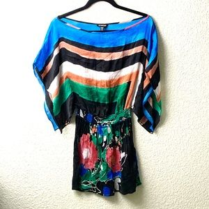 Bebe Multicolored 100% Silk Kaftan Cover Up Top